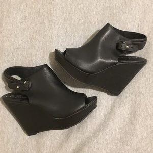 Black Platform Wedge Peep-Toe Sandals